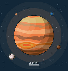 colorful poster of the planet jupiter in the space vector image vector image
