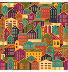 Colorful Seamless Town Background vector image vector image