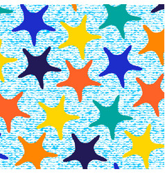 Colorful starfish pattern with stripes vector