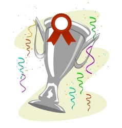 Cup trophy with a ward ribbon pinned to it vector