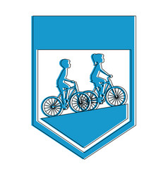 Cycling people riding a bicycle frame vector