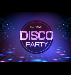 Disco abstract background neon sign disco party vector