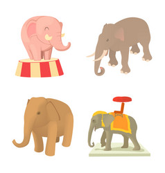 elephant icon set cartoon style vector image