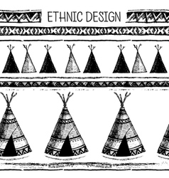 Ethnic seamless pattern native american tent vector