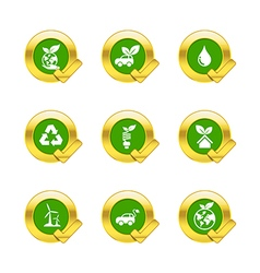 Gold circle and check mark with eco icons isolated vector