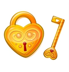 Golden lock in the shape of heart vector