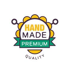 Handmade premium quality logo template retro vector