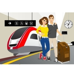 Happy couple standing in the train station vector