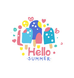 hello summer logo design label for summer holiday vector image