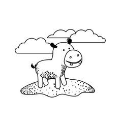 Hippopotamus cartoon in outdoor scene with clouds vector