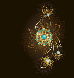 Jewelry with turquoise on a dark background vector