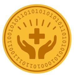 Medical prosperity digital coin vector