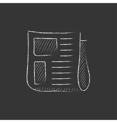 Newspaper Drawn in chalk icon vector image