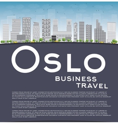 Oslo skyline with grey buildings vector