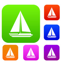 sea yacht set collection vector image