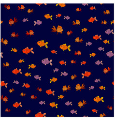 Seamless pattern of small fish on a blue vector