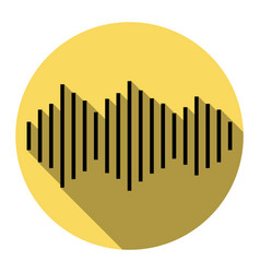 Sound waves icon flat black icon with vector