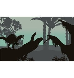 Spinosaurus in forest scenery silhouette vector