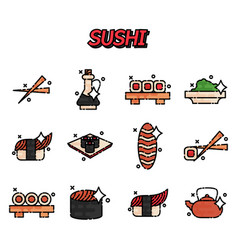 sushi cartoon concept icons vector image vector image