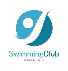 swimming club logo vector image vector image