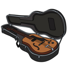 The retro semiaccoustic guitar in a hard case vector