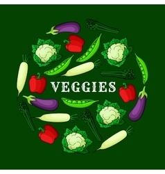 Veggies background with fresh vegetables icons vector