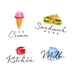 Watercolor label sandwich vector