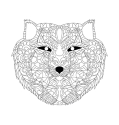 Wolf coloring for adults vector image