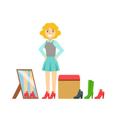 women trying on shoes in a shoes store colorful vector image