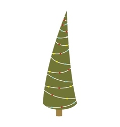 Abstract christmas thin tree with trunk vector