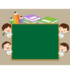 Children and space chalkboard vector