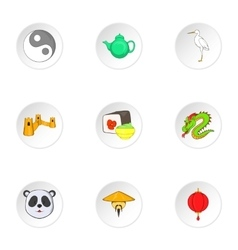 China icons set cartoon style vector