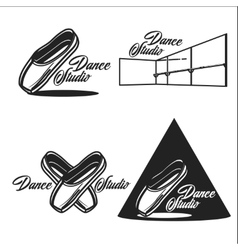 Vintage dance studio emblems vector image