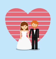 wedding couple lovely invitation vector image