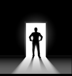 Silhouette of man entering dark room with bright vector