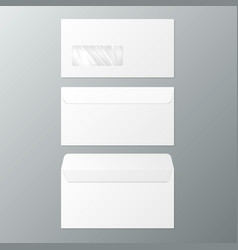 dl envelopes front and back view open and close vector image