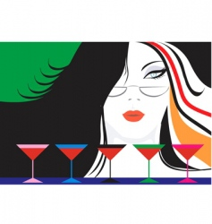 Lady and wine vector