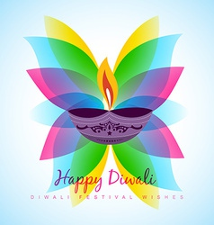 Diwali diya with leaf vector