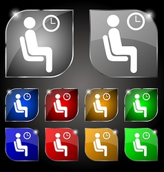 Waiting icon sign set of ten colorful buttons with vector