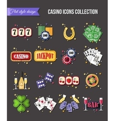 Set of colorful modern gambling icons casino vector