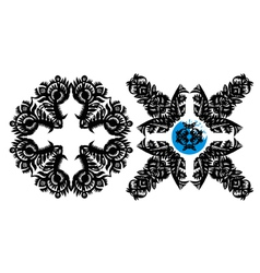Black decorative snowflake vector
