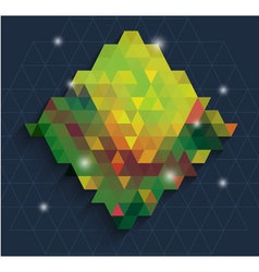 Triangle in green dianmond with bling background vector