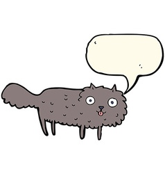 Cartoon furry cat with speech bubble vector
