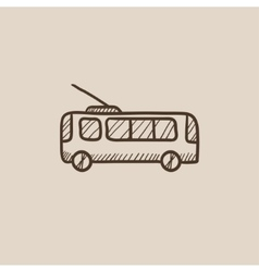 Trolleybus sketch icon vector