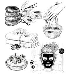 Hand Drawn Sketch of Spa Icons vector image