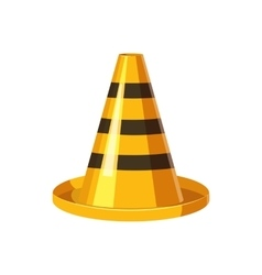 Yellow and black traffic cone icon cartoon style vector image