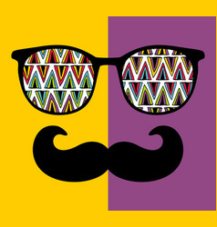 abstract portrait of retro man in glasses vector image