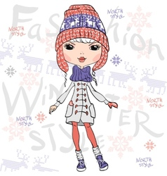 beautiful fashion girl in winter vector image