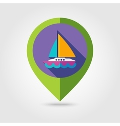 Boat with a sail flat mapping pin icon long shadow vector