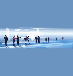 Business team silhouette in airport businesspeople vector